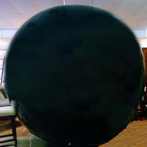 8 Foot Tall Solid Black Round Balloon with letters 1 side. 18
