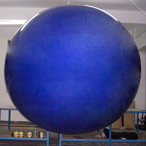 8 Foot Tall Solid Blue Round Balloon with letters 1 side. 18