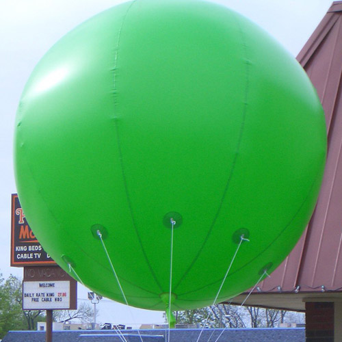 8 Foot Tall Solid Green Round Balloon with letters 1 side. 18